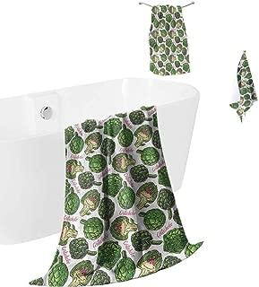 hengshu Artichoke Microfiber Towel Sets for Bathroom Super Food Organic Luxury Bath Towels Washcloths