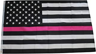 TrendyLuz Flags Thin Pink Line Flag Breast Cancer Awareness Support Women 3x5 Feet Printed Flag by