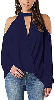 YOINS Maglia Donna Manica Lunga Camicia Elegante Maglietta Scollo a V Spalla Fredda Blusa Manica Lanterna Camicetta Allentata