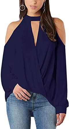 YOINS Camiseta de manga larga para mujer, hombros ...