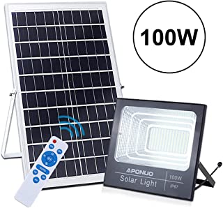100W Solar Powered Street Flood Lights, APONUO 196 LED 5000 Lumens Outdoor IP67 Waterproof with Remote Control Sensing Auto On/Off for Yard, Garden, Billboard, Swimming Pool, Basketball Court