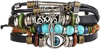 IPOTCH Multilayer PU Leather Bracelet, Handmade Beaded Bracelet,Blue Eye Bracelet Vintage Wrap Bracelet Wristband (Multico...