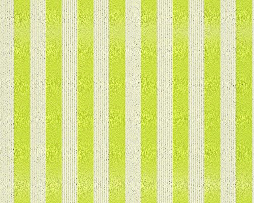 A.S. Création Vliestapete mit starkem Glitterauftrag Bling Bling Tapete Streifentapete 10,05 m x 0,53 m gelb grün weiß Made in Germany 315120 3151-20