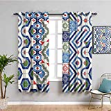 Cortinas opacas impresas con diseño de lunares para dormitorio con figuras clásicas y píxeles, protección de privacidad, multicolor de 63 x 72 pulgadas