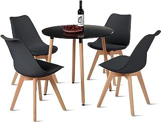 EGGREE Table Salle a Manger Ronde et Chaise Scandinave, Lot de 4 Chaises avec Table Cuisine pour Séjour, Café - Noir