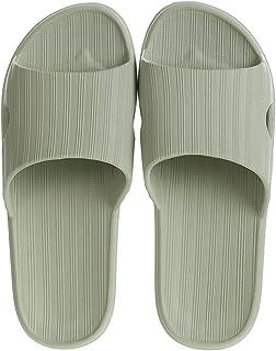 MINISO Women's Comfort Home Flip Flops Bathroom Slippers Thong Open Toe Non Slip (Pale Green, 37-38)