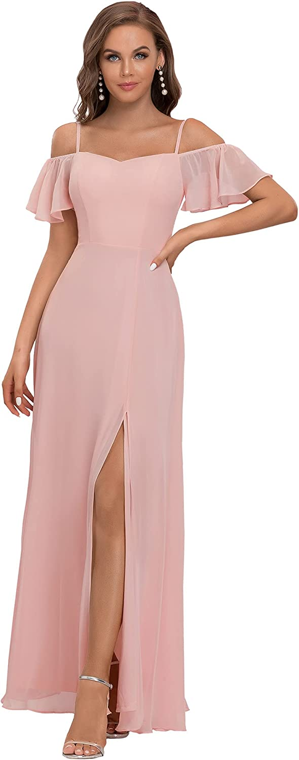 Ever-Pretty Women's Off-Shoulder A-line Side Slit Chiffon Bridesmaid Dresses with Sleeves 0237