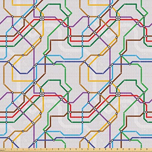 ABAKUHAUS Kaart Stof per strekkende meter, Levendige Gestreepte Metro Route, Stretch Gebreide Stof voor Kleding Naaien en Kunstnijverheid, 3 m, Veelkleurig