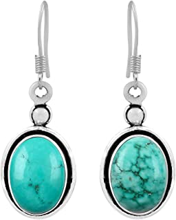 925SilverJewelry: Turquoise Stone Dangle Earrings For Women, Girls and Ladies, Sterling Silver December Birthstone Jewellery, Wedding Anniversary Gift For Wife (12.1 Ctw)