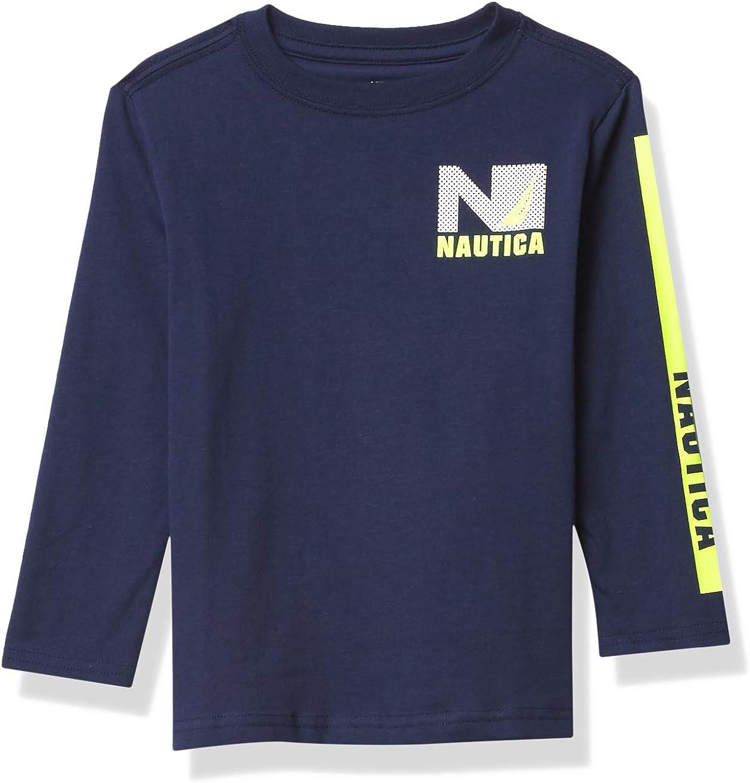 Nautica Boys' Long Sleeve Colorblock Arm Logo Tee