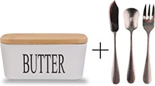 Ceramic Butter Dish(650ml),QAPPDA 22 oz Porcelain Butter Keeper With Bamboo lid and Rubber Seal Ring, Large Butter Conteriner with Wooden Top,Stainless steel Buter Knife,Spoon,Fork Included