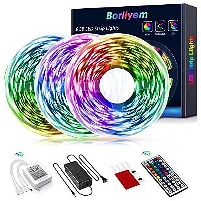 Borllyem Led Strip Lights 49.2 Feet, Color Changing Led Light Strip 5050 SMD Rope Lights 44Keys Remote Led Lights for Bedroom Home Party