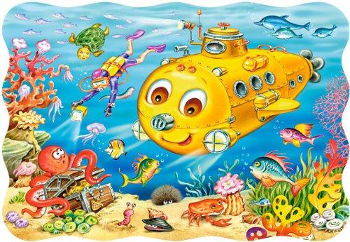 alles-meine.de GmbH Puzzle 30 Teile - U-Boot mit Fischen, Taucher und Schatztruhe - Unterwasser - Kinderpuzzle für Kinder - Schildkröte Fisch Delfin