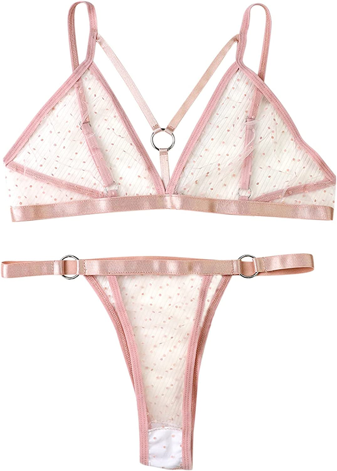 Lingerie Suit for Women's Sexy Lace Intimates 3/4 Cup See-Through Underwear Female Three-Point Modal Underwear Set