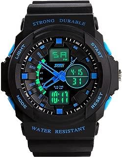 Fanmis Men's Women's Multi-Function Cool S-Shock Sports Watch LED Analog Digital Waterproof Alarm - Blue