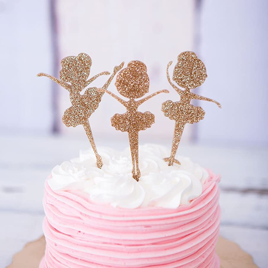 Ballerina Cake Topper for Birthday Party Decor, Glitter Girls' Birthday Party Cake Topper, Ballerinas Dancing Silhouette Decoration for Ballerinas with Tutus Party Theme Decor