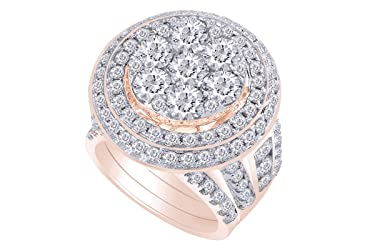 14kt Solid Gold Womens Round Diamond Cluster Bridal Wedding Engagement Ring Band Set 7.00 Cttw