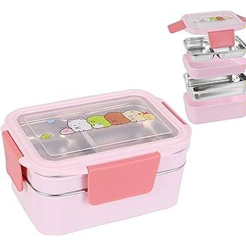 WayEee Bento Box per Pranzo Lunch Box con 4 Compartimenti per Bambini Perfetto per Forno a Microonde Atossico Inodore BPA Free Contenitore per Alimenti Rosa