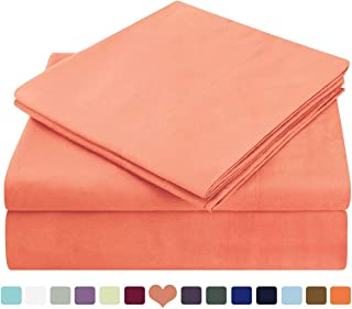 HOMEIDEAS Bed Sheets Set Extra Soft Brushed Microfiber 1800 Bedding Sheets - Deep Pocket, Hypoallergenic, Wrinkle & Fade Free - 4 Piece(Queen,Coral)