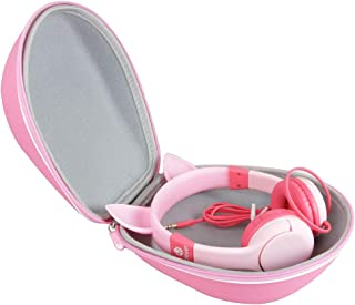 Hermitshell Hard Travel Case for iClever BoostCare Kids Headphones Wired Over Ear Headphones with Cat Ears (Pink)