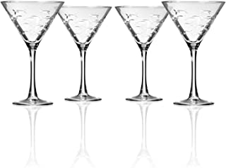 Rolf Glass School of Fish Martini Glass - Set of 4 Stemmed 10 oz. Martini Glasses - Lead-Free Crystal Glass - Diamond-Wheel Engraved Cocktail Glasses - Made in the USA