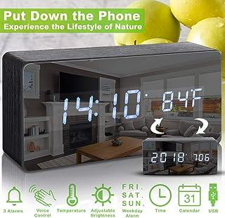 Digital Alarm Clock, LED Wooden Desk Alarm Clock for Kids with Adjustable Brightness, Voice