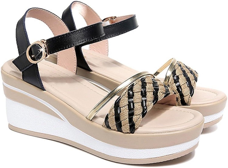 Galongjunnvxie GLJXG Kvinnors skor skor skor sommar Wild Wedges Sandaler Muffiner Tjocktunga sandaler 2 Färger Valfria, Storlek Valfri  online försäljning