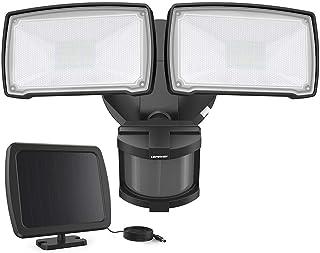 LEPOWER 1000LM Solar LED Security Lights Outdoor, 2 Adjustable Head Solar Motion Sensor Light, 5500K White Light, IP65 Waterproof Solar Flood Light for Garage, Yard, Patio(Black)