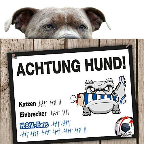Hunde-Warnschild Schutz vor Hamburg-Fans | Werder Bremen-, St.Pauli- & alle Fußball-Fans, Dieser Revier-Markierer schützt Haus & Hof vor Hamburg-Fans | Achtung Vorsicht Hund Bissig