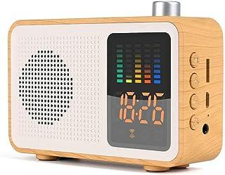Retro Bluetooth Wireless Speaker,DAB/DAB+ Digital FM Portable Radio/LED Display Alarm Clock/Real Wood Effect Finish/Rechargable Battery/Premium Stereo Sound,Brown (Yellow)