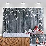 Avezano Telón de fondo de madera para fotografía de Navidad de 2,1 x 1,5 m, fondo de fotografía de muñeco de nieve
