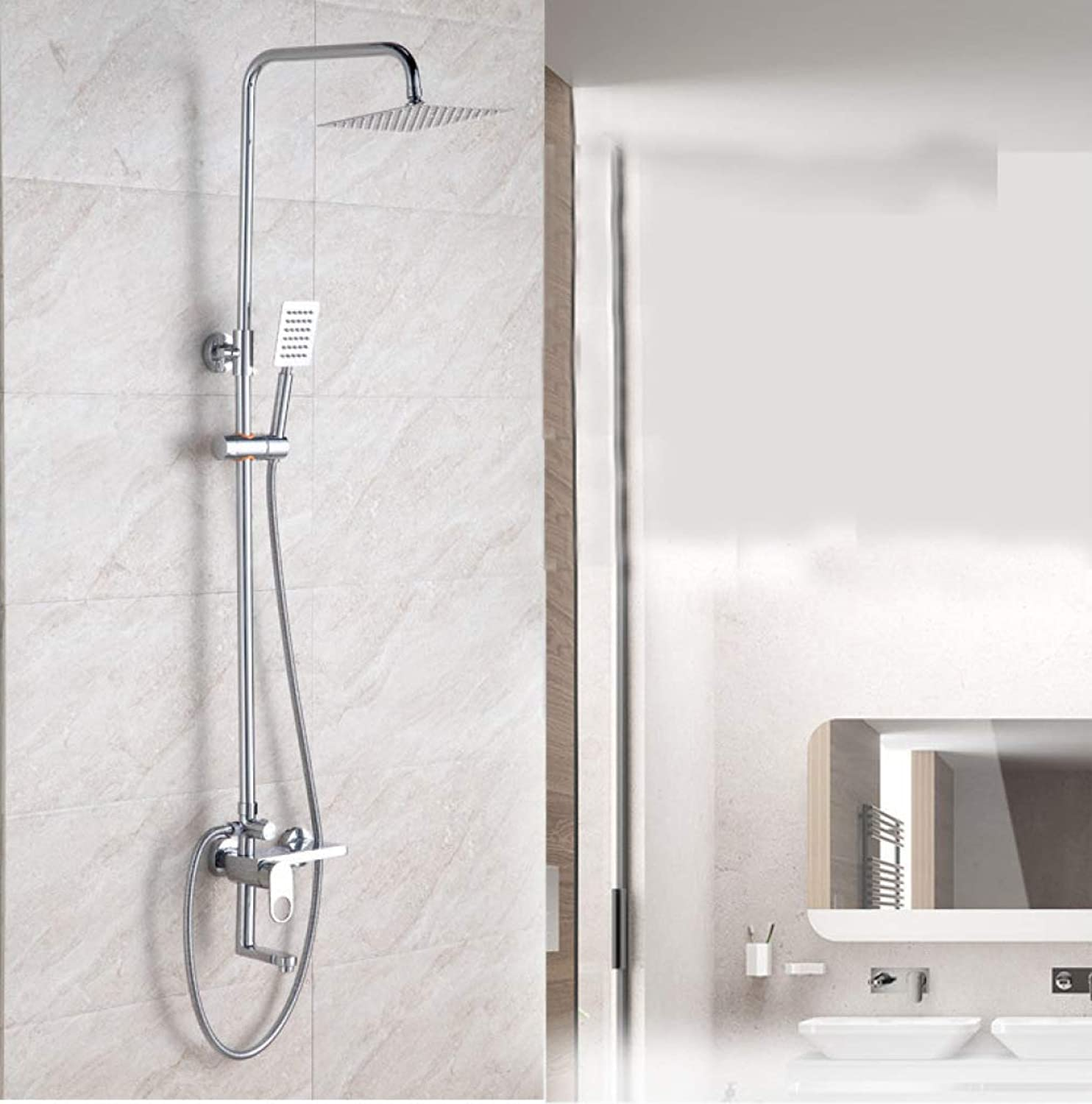 LHW Shower Set, faucet, square shower, round brass, concealed shower, stainless steel overhead shower, with overflow shower head shower