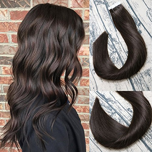 Tape In Remy Human Hair Extensions 8A 20pcs 50g Per Set #2 Dark Brown Remy Hair Extensions Seamless Skin Weft Remy Silk Straight Hair Glue in Extensions Glue in Extensions Human Hair 16 Inch