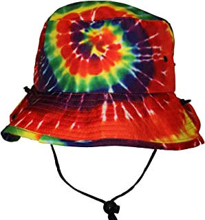 Tie Dye Jungle Bucket Hat with String Strap for Men Women Teens Rainbow Colors