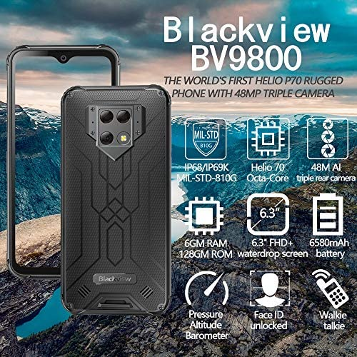 """Blackview BV9800 (2020) Rugged Phones Unlocked, IP68 Waterproof Smartphone, 48MP Triple Rear Camera, 6GB+128GB Octa-core 6.3"""" FHD+ Screen Android 9.0 6580mAh Battery Global Dual 4G Rugged Cell Phone WeeklyReviewer"""
