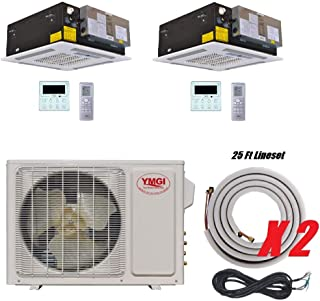 YMGI Dual Zone - 24000 BTU (12K +12K) Ceiling Mounted Ductless Mini Split Air Conditioner with Heat Pump for Home, Office