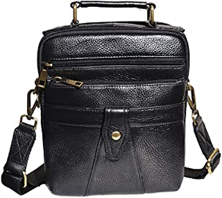 Shoulder Bag,Men's Genuine Leather Messenger Handbag,Crossbody Bag,Black Briefcase