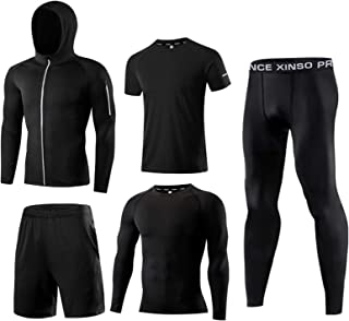 5-Piece Tracksuit Sports Set Men's Fitness Suit with Pants, Long Sleeve Shirt, Shorts, Jacket and Short Sleeves Set Hoodie...