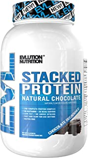 Evlution Nutrition Stacked Protein Natural 2 LB Protein Powder with 25 Grams of Protein, 5 Grams of BCAA's and 5 Grams of Glutamine (Chocolate Decadence)