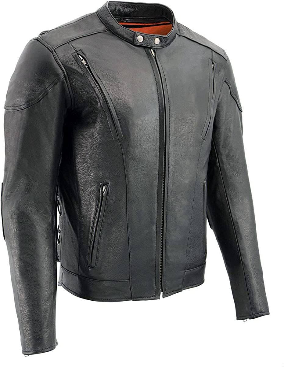 Milwaukee Leather ML1010 Men's Side Lace Vented Black Leather Scooter Jacket