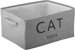 Morezi Canvas Storage Basket Bin Chest Organizer - Perfect for Organizing Toy Storage, Baby Toys, Kids Toys, Dog Toys, Baby Clothing, Children Books, Gift Baskets - Cat Toy - Grey