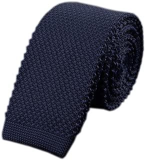 Men's Solid Color Skinny Knit Tie Vintage Smart Formal Cotton Necktie for Groom