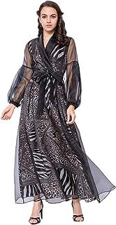 فستان ماكسي اسلامي للنساء بنقش مرقط وتصميم جديد وجذاب وقبة بشكل حرف V - لون اسود