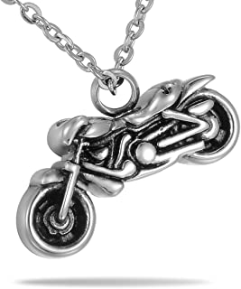 HooAMI Vintage Motorcycle Biker Pendant Cremation Jewelry Keepsake Memorial Urn Necklace