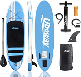 UBOWAY Inflatable Stand Up Paddle Board 6 inch Thick iSUP with Adjustable Paddle, Backpack, Pump, Elastic Rope, Fin, Repair Kit 10 ft Long 30 inch Wide