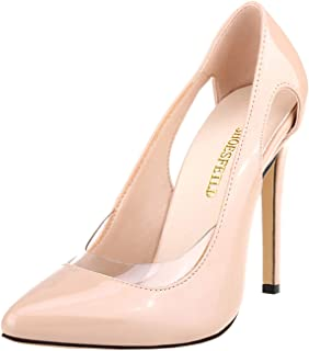 SHOESFEILD Heels for Women, High Heels Fashion Pointed Toe Stiletto Transparent Cut Out Dress Pump Shoes