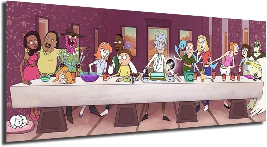 HD Print Home Décor Rick And Morty The Last Supper Paintings Wall Poster Picture