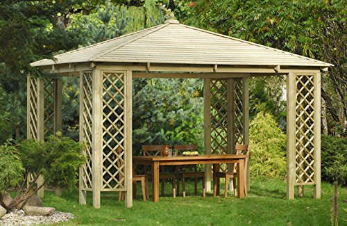 LiveOutside Rimini - Spacious Square Wooden Garden Gazebo - Wooden Roof, Dimensions: 3.0x3.0m x h 3,1m