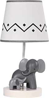Lambs & Ivy Me & Mama White/Gray Elephant Nursery Lamp with Shade & Bulb
