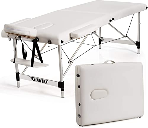 high quality Giantex Portable Massage popular Table 84inch, Folding Massage Bed Aluminium Frame, Height Adjustable, 2 Fold Professional Facial Salon Tattoo Bed with Face Cradle outlet sale Armrests Headrest Carrying Bag (White) outlet sale